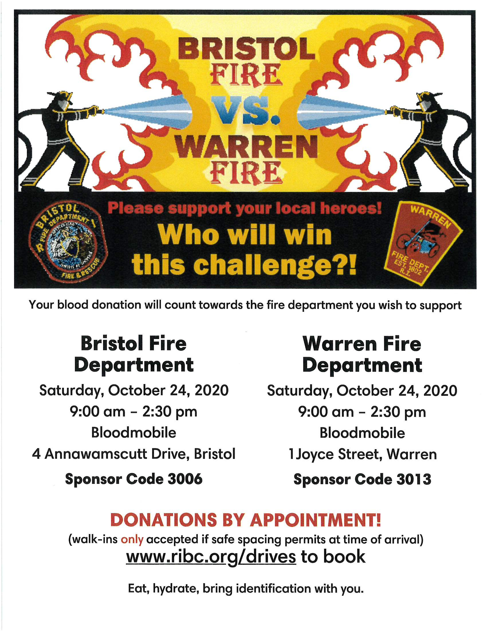 Bristol Fire vs Warren Fire Blood Drive Flyer